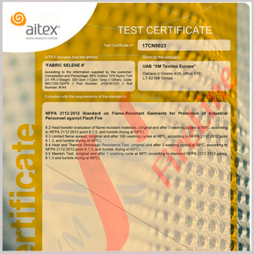 Selene-9 fr fabric is certified to NFPA 2112